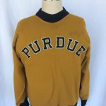 Wool warm up suit for Purdue football worn by Lowell Decker in the 1930s. (89.183.01)