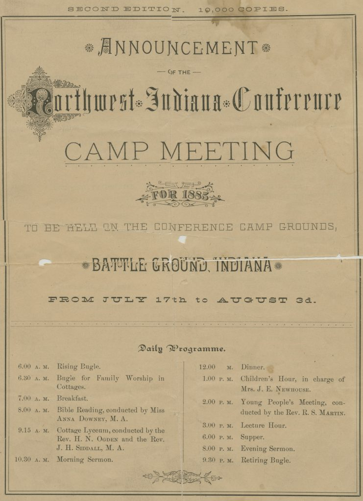 Camp Meeting Announcement, 1885.